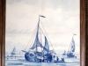 Delfts blauwe schepentegel.